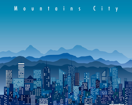 abstract city, cityscape skyscrapers with mountains, blue vector background