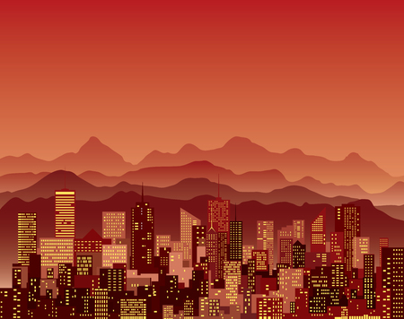 abstract city, cityscape skyscrapers with mountains, red vector background.