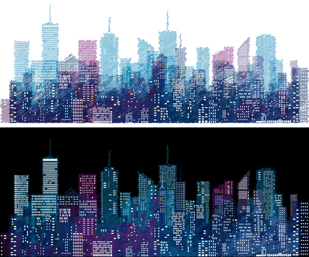white windows on hand drawn city skylines, blue color doodle sketch cityscape background, editable and layered Illustration