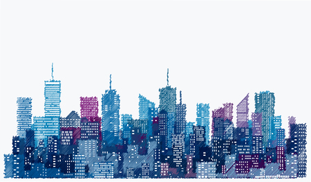 fenêtres blanches sur les toits de la ville dessinés à la main, fond de paysage urbain de couleur bleue, modifiable et en couches
