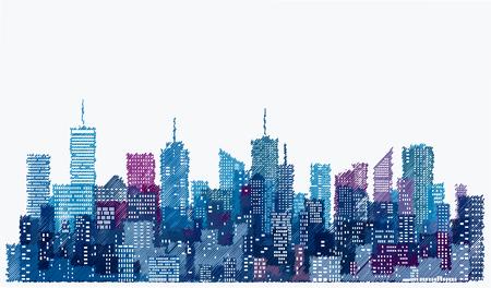 Finestre bianche su skylines città disegnati a mano, sfondo blu paesaggio urbano, modificabile e stratificato