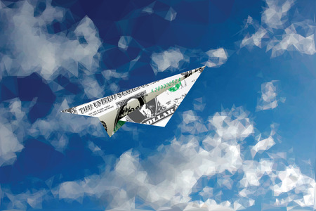 cash: Vector dollar banknote like paper plane flying in low poly cloudy sky