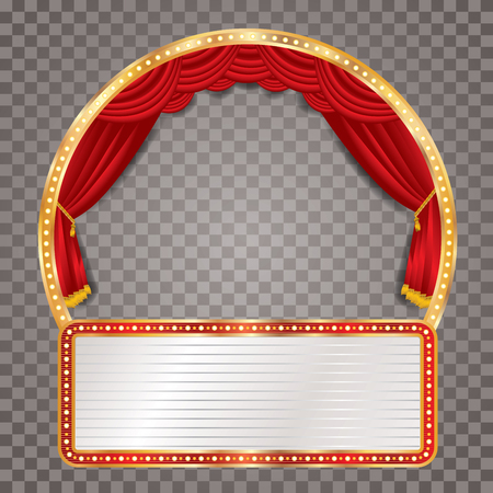 blank billboard: vector circle stage with red curtain, golden frame, bulb lamps, blank billboard and transparent shadow