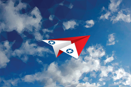 usaf: vector abstract background with low poly cloudy sky and red and white paper plane with USAF star
