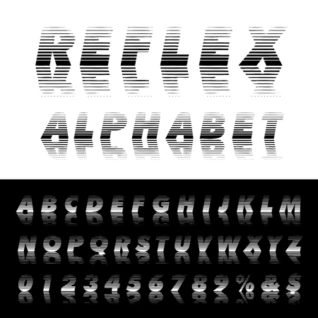 vector alphabet, linear halftone raster with reflection Illustration