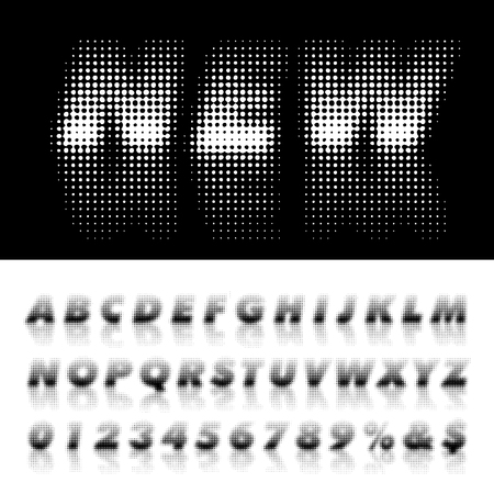 vector dotted alphabet with reflection, halftone black and white illustration Illustration