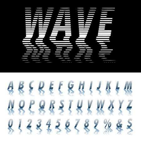 vector alphabet, linear halftone raster with reflection in water with waves