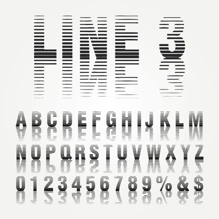vector alphabet, linear halftone raster, with reflection