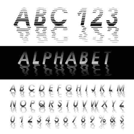 water reflection: vector alphabet, linear halftone raster with reflection in water with waves