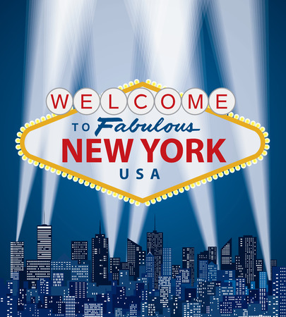 vector illustration of famous sign of Las Vegas with New York name