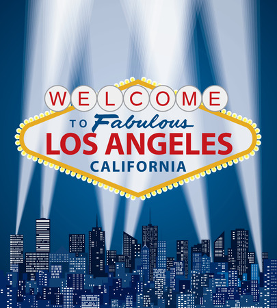 vector illustration of famous sign of Las Vegas with Los Angeles name