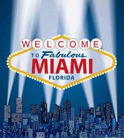 vector illustration of famous sign of Las Vegas with Miami name Illustration