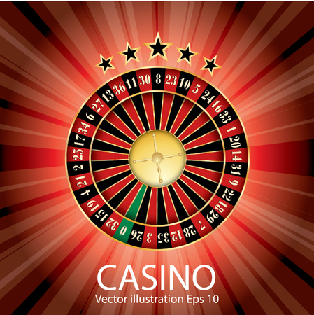 chances are: casino vector abstract illustration with roulette, stars and red burst