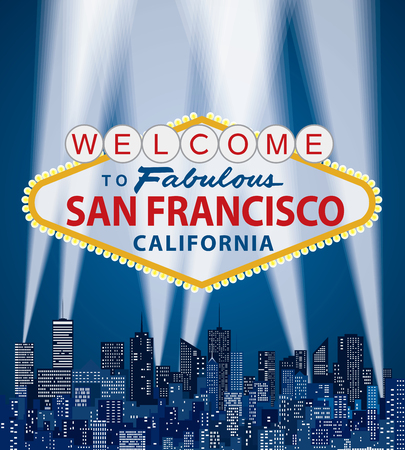 vector illustration of famous sign of Las Vegas with San Francisco name