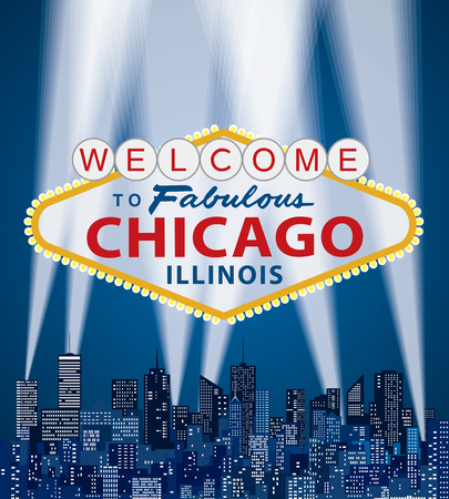 vector illustration of famous sign of Las Vegas with Chicago name