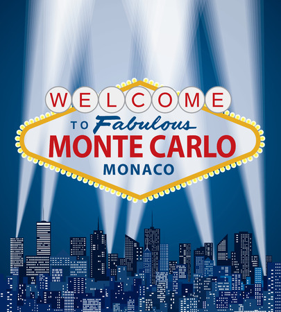 vector illustration of famous sign of Las Vegas with Monte Carlo name Illustration