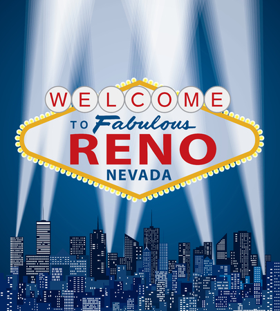 vector illustration of famous sign of Las Vegas with Reno name Illustration