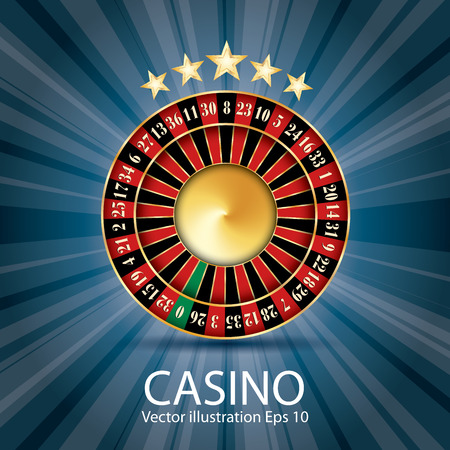 casino vector abstract illustration with roulette, stars and blue burst Reklamní fotografie - 80328737
