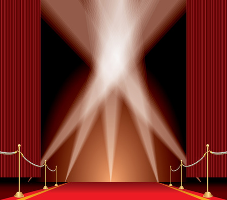 stasis: vector opened red curtain stage with red carpet, golden fence and five spotlights