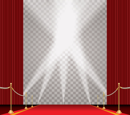 stasis: vector opened red curtain stage with red carpet, golden fence and five spotlights, show business and entertainment transparent background Illustration