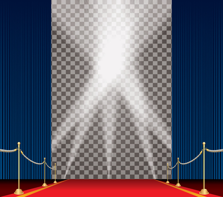 stasis: vector opened blue curtain stage with red carpet, golden fence and five spotlights