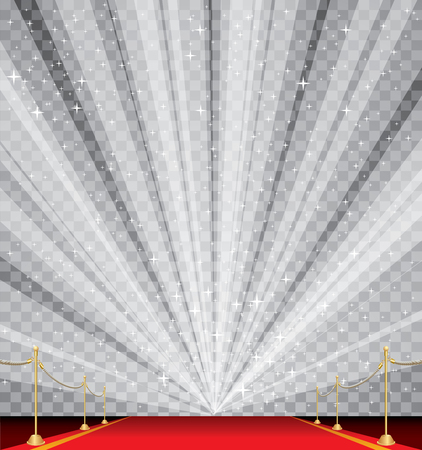 vector illustration of empty red carpet with transparent starburst, editable and layered Illustration