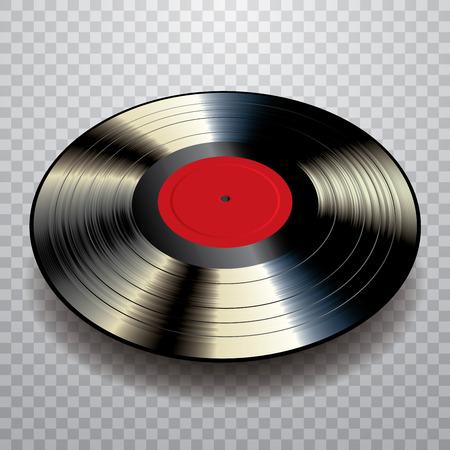 벡터 빈 검은 LP 비닐 레코드 빨간 레이블 및 투명 그림자 일러스트