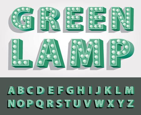 3d green alphabet with bulb lamps, retro vintage font