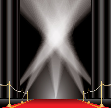 vector opened black curtain stage with red carpet, golden fence and five spotlights, show business and entertainment editable and layered background Illustration
