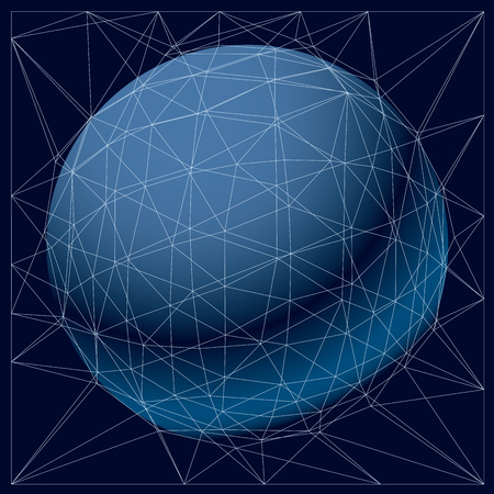 low perspective: vector technology background with lines connected, polygonal wireframe object. Abstract faceted element for use as design structure on communication technology theme Illustration