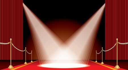 vector opened red curtain stage with red carpet, golden fence and two spotlights, show business and entertainment horizontal background