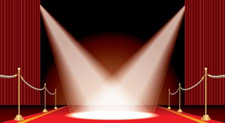 Scène de Rideau rouge ouvert de vecteur avec tapis rouge, clôture dorée et deux projecteurs, fond de spectacle et de divertissement fond horizontal Banque d'images - 81898336