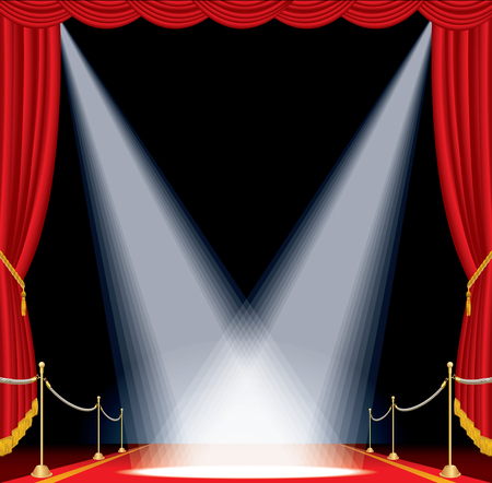 vector opened red curtain stage with red carpet, golden fence and two spotlights, show business background Illustration