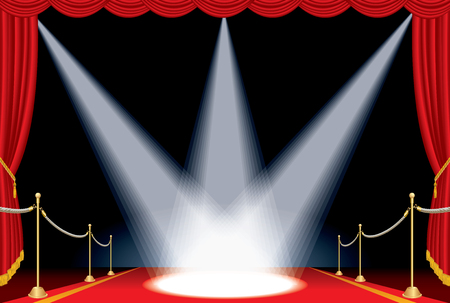 sipario chiuso: vector opened red curtain stage with red carpet, golden fence and three spotlights, show business background
