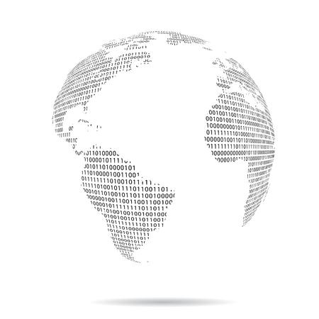 world globe with binary code, vector illustration