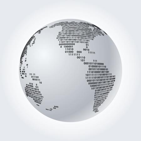 Wereldbol met binaire code, vectorillustratie Stock Illustratie