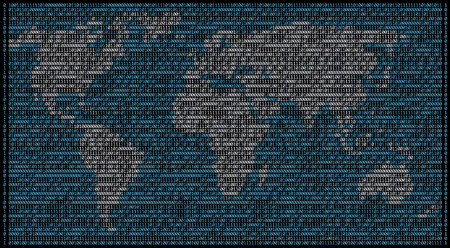 Map of world with binary code, vector illustration