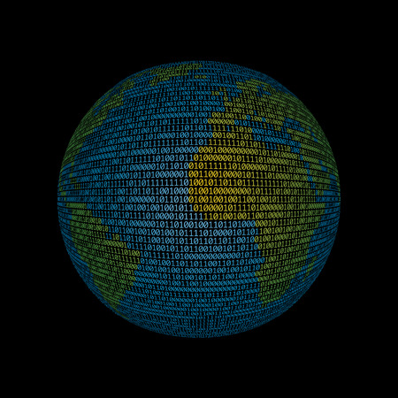 world globe with binary code, vector illustration