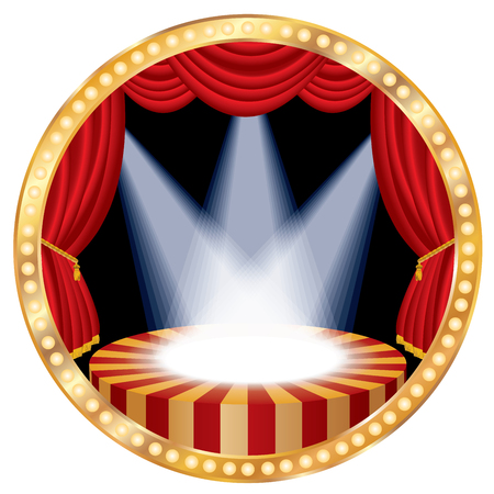 reveal: circle stage with red curtain, bulb lamps and three spotlights Illustration
