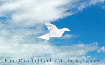 vector illustration with paper bird on triangulated sky, low poly Illustration