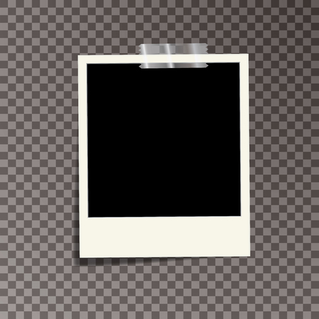 vector template photo frame with adhesive tape, Isolated on transparent background. design for your photography and picture. Vector Illustration
