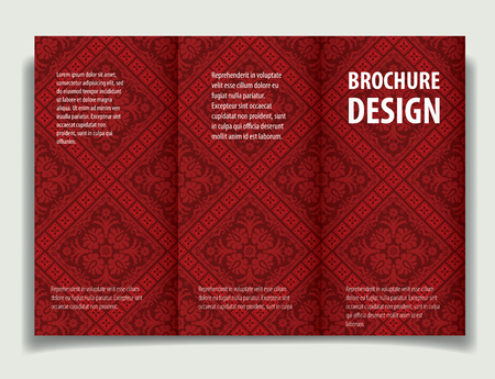 Baroque background with antique, luxury black and red vintage frame, victorian banner, damask floral wallpaper ornaments, invitation card, baroque style booklet, template for design.