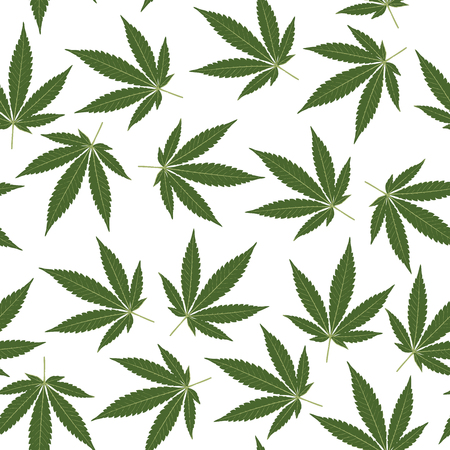 seamless repeating pattern with marijuana leaves in two green colors on white background