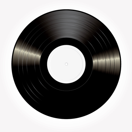 vector blank black LP vinyl record with white label