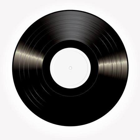 Disco in vinile LP vuoto nero vettoriale con etichetta bianca Archivio Fotografico - 83176473
