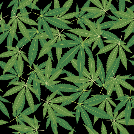 seamless repeating pattern with marijuana leaves in green colors on black background