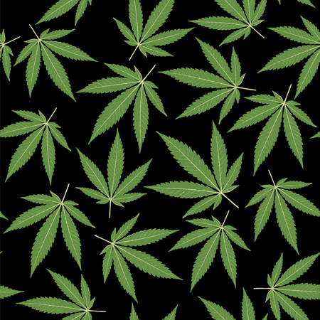 seamless repeating pattern with marijuana leaves in two green colors on black background