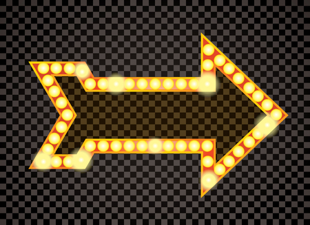 las vegas lights: arrow with bulb lamps, retro transparent background, layered and editable