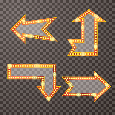 las vegas lights: arrows with bulb lamps, retro transparent background, layered and editable Illustration