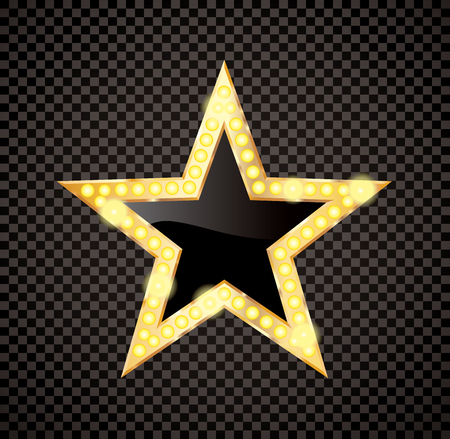 golden star with bulb lamps on transparent background, enertainment and show bussiness success symbol